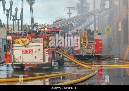 Los Angeles City Fire Department at a commercial building fire. - Stock Image