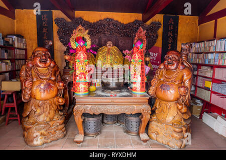 The Laughing Buddha shrine at Putian Temple in Hsinchu. - Stock Image