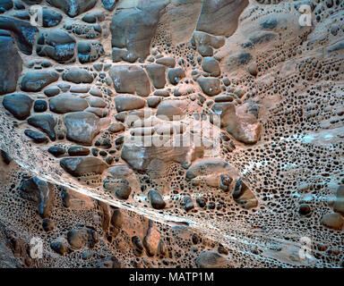Honeycomb rock patterns, Dirty Devil River, Utah Proposed Dirty Devil Wilderness - Stock Image