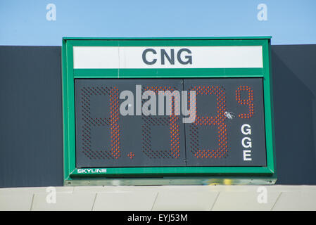Compressed Natural Gas Filling Station Price Sign - Salt Lake City - utah - Stock Image