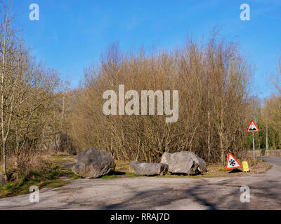 Wirksworth, Derbyshire, UK. 25th Feb, 2019.  Local beauty spot under threat by Gypsy Roma Traveller camp after Councillors from Derbyshire Dales District Council apologised to the residents of Wirksworth for having to make the decision, commenting that they 'wouldn't wish it on anyone', Councillor Mike Ratcliffe called that decision a 'partisan political manoeuvre', Stoney Wood, Wirksworth, Derbyshire Dales. Land has been allocated as a 6 month temporary tolerated site. DDDC plan to cut down all the trees on the site to make room for the Travellers camp. Credit: Doug Blane/Alamy Live News - Stock Image