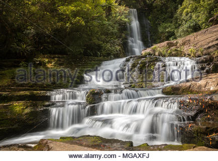cascade of McLean Falls, Southland, New Zealand - Stock Image