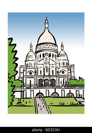 Illustration of the SacrŽ-CÏur in Paris, France - Stock Image