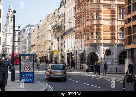 People walking along Ludgate Hill, City of London, UK - Stock Image