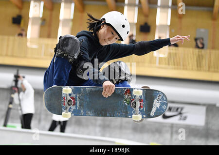 Murakami city Skate Park, Niigata, Japan. 11th May, 2019. Asahi Kaihara, MAY 11, 2019 - Skateboarding : The 3rd Japan Skateboarding Championship Women's Park Semi-final at Murakami city Skate Park, Niigata, Japan. Credit: MATSUO.K/AFLO SPORT/Alamy Live News - Stock Image