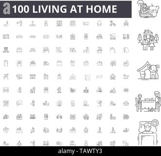 Living at home line icons, signs, vector set, outline illustration concept  - Stock Image