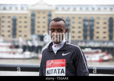 London,UK,24th April 2019,Shura Kitata(ETH) attends The London Marathon Elite Mens Photocall which took place outside the Tower Hotel with Tower Bridge in the background ahead of the Marathon on Sunday.  Credit: Keith Larby/Alamy Live News - Stock Image