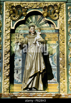 Spain. Galicia. Santiago de Compostela Cathedral. Chapel of Piety or Chaple of the Holy Cross ,or Chapel of Mondragon. Statue of Saint Joseph, foster-father of Jesus, sculpted by Renaissance sculptor Miguel Perrin (France, 1498 ?-Seville, 1552) in 1526. - Stock Image