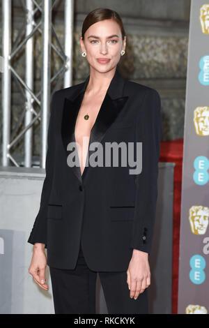 London, UK. 10th Feb, 2019. LONDON, UK. February 10, 2019: Irina Shayk arriving for the BAFTA Film Awards 2019 at the Royal Albert Hall, London. Picture: Steve Vas/Featureflash Credit: Paul Smith/Alamy Live News - Stock Image