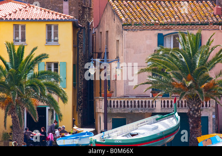 telephoto tight image of the of quaint charming seaport Collioure France - Stock Image