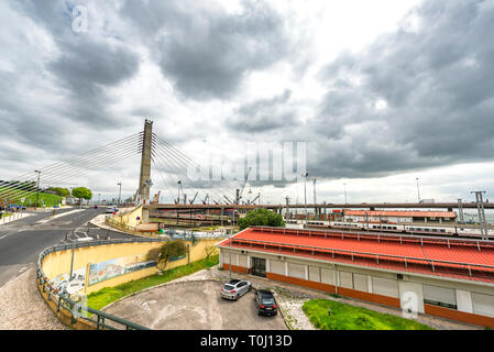 View on port area in Lisboa city, Portugal - Stock Image