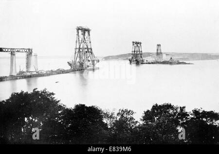 Forth Bridge main Piers August 1887 building construction - Stock Image