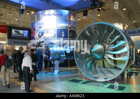 The Rolls Royce display stand at the Paris Air Show le Bourget 2005 - Stock Image