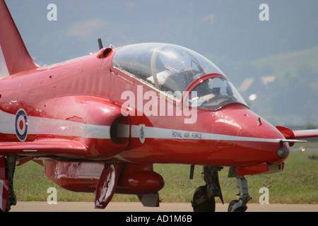 Red Arrows Hawk aircraft taxi - Stock Image