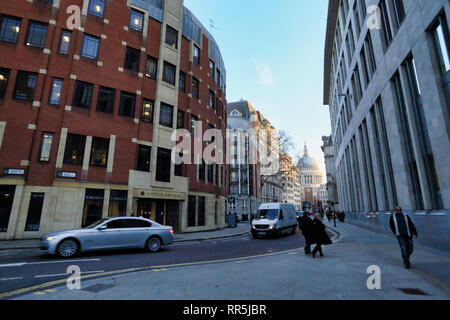 Vehicles passing Little Britain office in City of London, London, England, UK - Stock Image