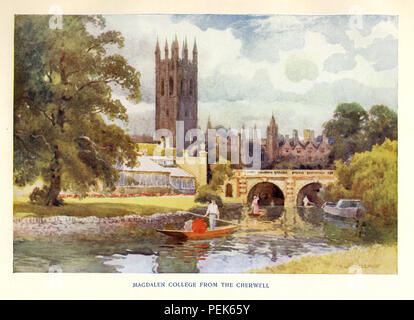Magdalen College from the Cherwell, 1920 watercolour of the famous tower and bridge across the riverside meadows - Stock Image