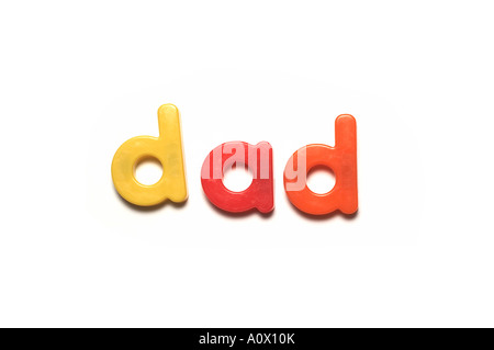 alphabet fridge magnets spelling dad,words - Stock Image