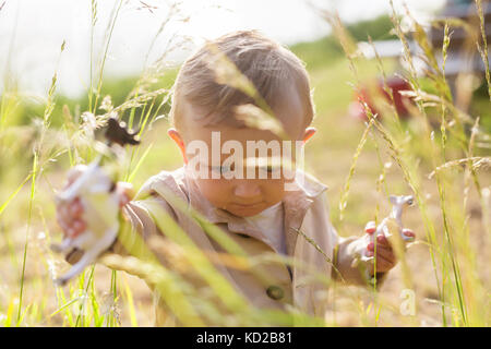 Baby boy (18-23 months) walking in tall grass - Stock Image
