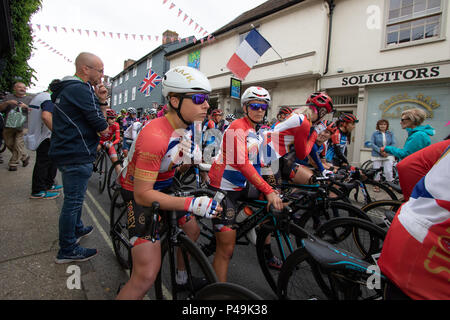The Storey Racing team lining up at the start of the 2018 Ovo Women's Tour - Stock Image