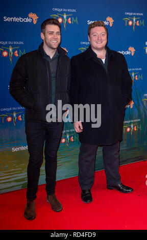 London, United Kingdom. 16 January 2019. James Cooper & Jamie Morton arrive for the red carpet premiere of Cirque Du Soleil's 'Totem' held at The Royal Albert Hall. Credit: Peter Manning/Alamy Live News - Stock Image