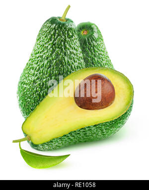 Cut avocado fruits isolated on white background with clipping path - Stock Image