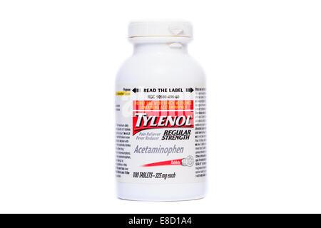 Regular Strength Tylenol Acetaminphen Tablets - Stock Image