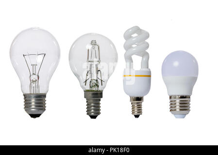 Group of lamps on a white background: led, fluorescent, incandescent, halogen with opaque glass bulb and E27 socket. - Stock Image