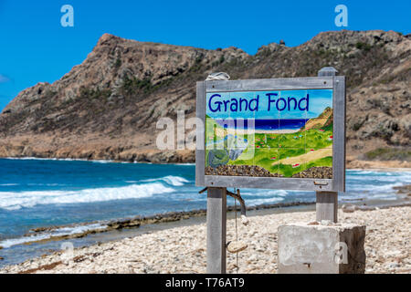 sign at Grand Fond beach in St Barts - Stock Image