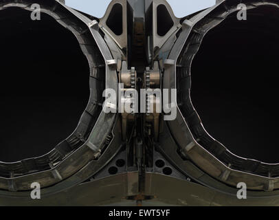 Jet engines exhaust from behind. - Stock Image