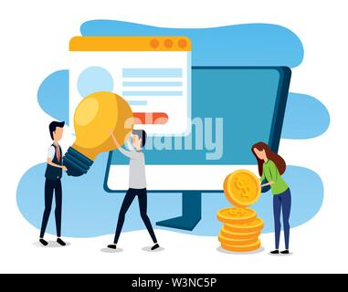 businessmen and businesswoman with computer and website with coins - Stock Image