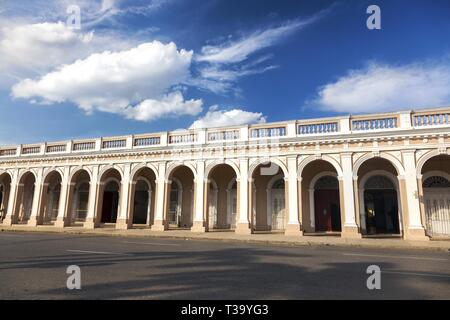 Spanish Colonial Architecture on City Streets of Cienfuegos, Cuba - Stock Image