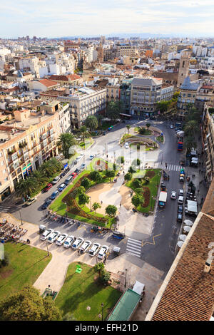 Looking down on the Plaza de la Reina in Valencia Spain - Stock Image