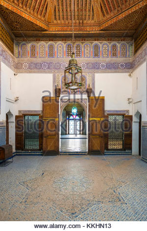Morocco, Marrakech-Safi (Marrakesh-Tensift-El Haouz) region, Marrakesh. Musee Dar Si Said museum interior. - Stock Image