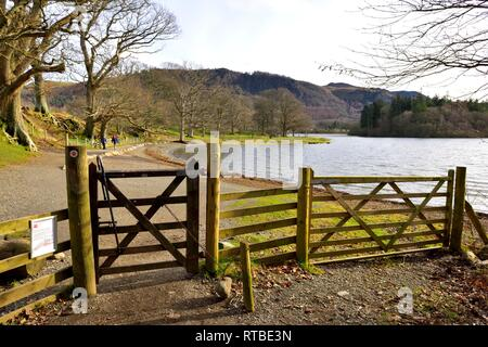 The shoreline of Derwent Water,Lake District,Cumbria,England,UK - Stock Image