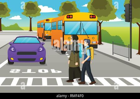 A vector illustration of Two Students Crossing the Street to Go to School - Stock Image