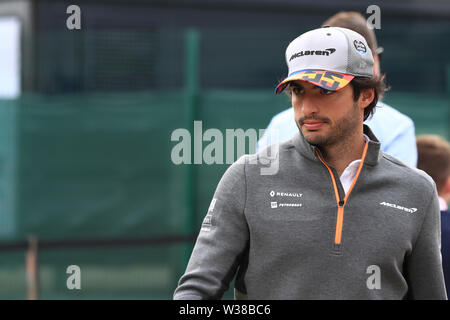 Silverstone Circuit. Northampton, UK. 13th July, 2019. FIA Formula 1 Grand Prix of Britain, Qualification Day; McLaren, Carlos Sainz Credit: Action Plus Sports/Alamy Live News - Stock Image