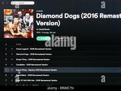 David Bowie album Diamond Dogs Spotify page - Stock Image