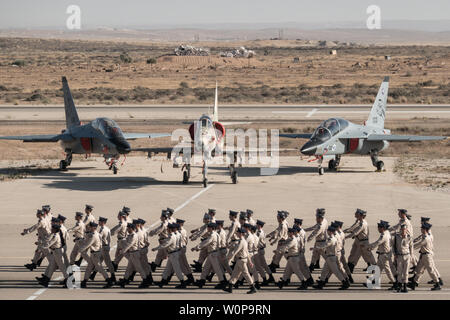 Hazerim Air Base, Israel. 27th June, 2019. An air show takes place at a graduation ceremony honoring newly certified Israel Air Force pilots and navigators following their successful completion of one of the most competitive and rigorous training processes in the IDF at Hazerim Air Base in the Negev Desert. Credit: Nir Alon/Alamy Live News. - Stock Image