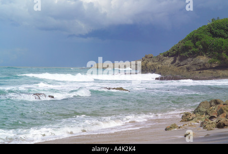 Stormy surf a on a Puerto Rican Atlantic beach in October. - Stock Image