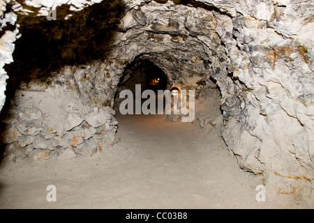 Inside Daugbjerg limestone mines near Viborg Denmark - Stock Image