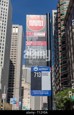 Muni and SamTrans, public transport signs, Main Street & Howard Street, San Francisco, California, USA - Stock Image