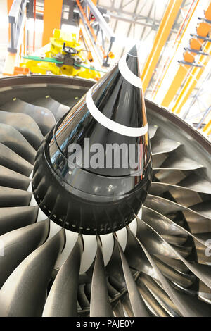 Rolls-Royce Trent 900 jet aero-engine maintenance and overhaul at SAESL Singapore Aero Engine Services Pte Ltd - Stock Image