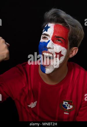World Cup Rusia, Soccer,  Panamanian flag,  bandera de panama, rostro, 507, Panama, world cup, Rusia 2018, Panama soccer, Futbol, mundial de futbol. - Stock Image