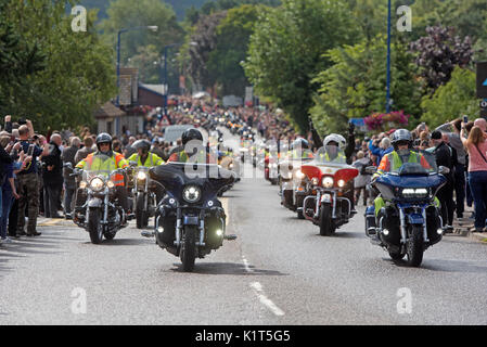 The start of the 2017 'THUNDER IN THE GLENS' convoy of 2200 Annual Harley Davidson motorcycle rally held at Aviemore in Strathspey Inverness-shire. - Stock Image