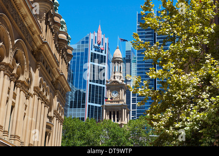 Sydney Town Hall Tower and QVC building Sydney Australia - Stock Image