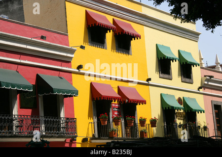 Colourful Painted Buildings, Puebla City, Puebla State, Mexico - Stock Image