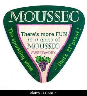 Vintage Beermat Advertising Moussec Sparkling Wine - Stock Image