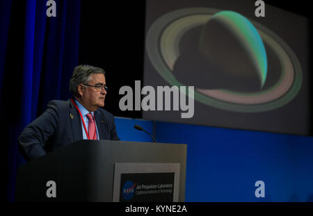 ESA (European Space Agency) Cassini project scientist, Nicolas Altobelli answers a question from the media during - Stock Image