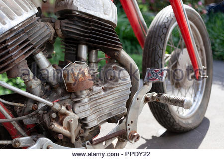 1942 Harley Davidson; with a Confederate Flag Pedal - Model  WLA 750 - Outside in Sunshine ready for restoration - Stock Image