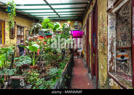 Szimpla Kert , one of the oldest Ruin Pubs In Budapest , interior detail - Stock Image